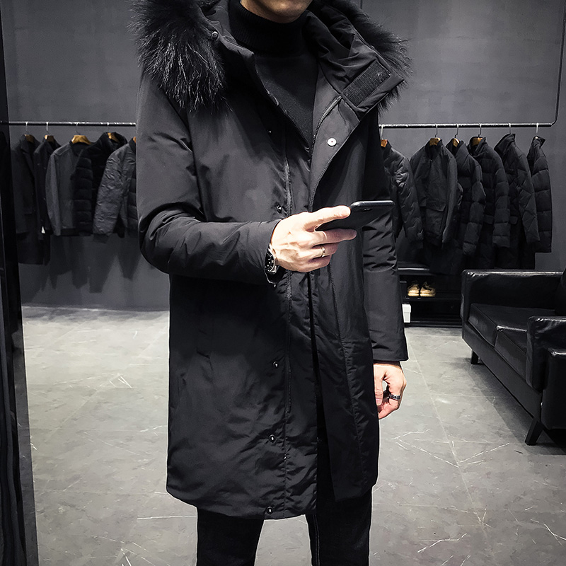 New Fashion Long Section High Quality Real Fur Collar Detachable Long Down Jacket