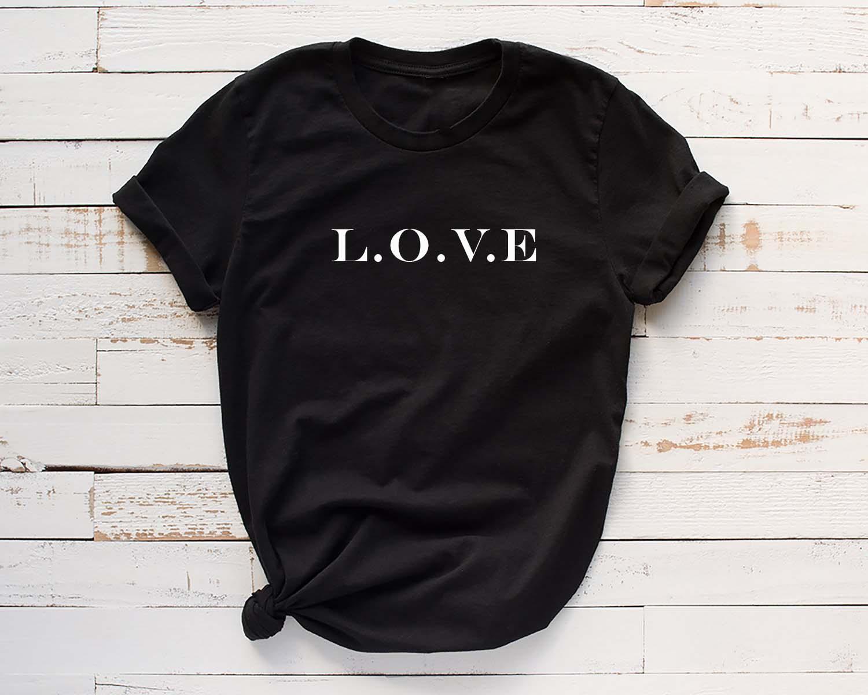 L.O.V.E Letters Print Shirts Women O-Neck Tshirt Black Tee Top Fashion Shirt Korean Clothes Hipster Streetwear