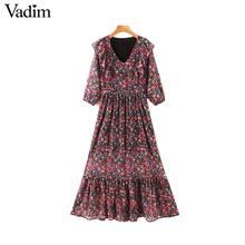 Vadim נשים מתוק פרע שיפון מקסי שמלת V צוואר חצי שרוול צד רוכסן חתיכה אחת חמוד מקרית ארוך שמלות vestidos QD200