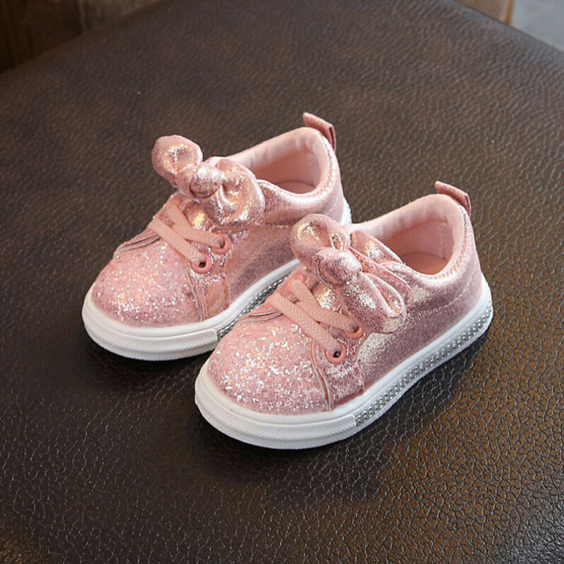 1-3 Years Toddler Baby Girls Shoes Solid PU Bling Bow Sequin Crib Shoe Trend Autumn Spring Kids Casual Shoes Dress Shoes