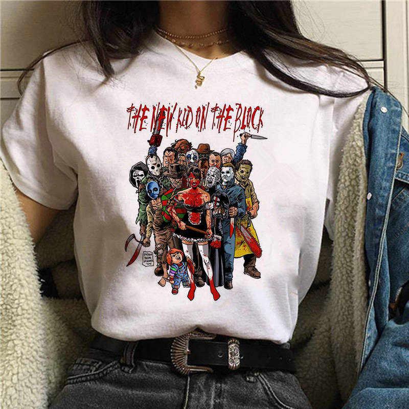 Camiseta femenina Pennywise Michael Myers Jason Voorhees, Camiseta de Halloween para mujer, Camiseta Top Ouija