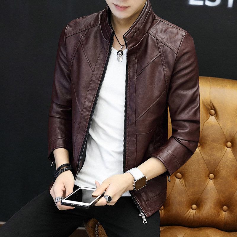 2018 Autumn And Winter Men's PU Leather Men's Thin Korean-style Casual MEN'S Outerwear Stand Collar Slim Fit Leather Jacket Tren
