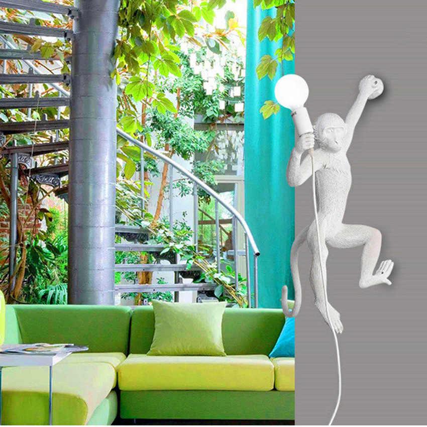 Moderno Pingente luzes Led Ouro Macaco Resina Sala de estar Lâmpadas Quarto Restaurante Bar Cozinha Luminárias Luzes de Luminárias Pendentes