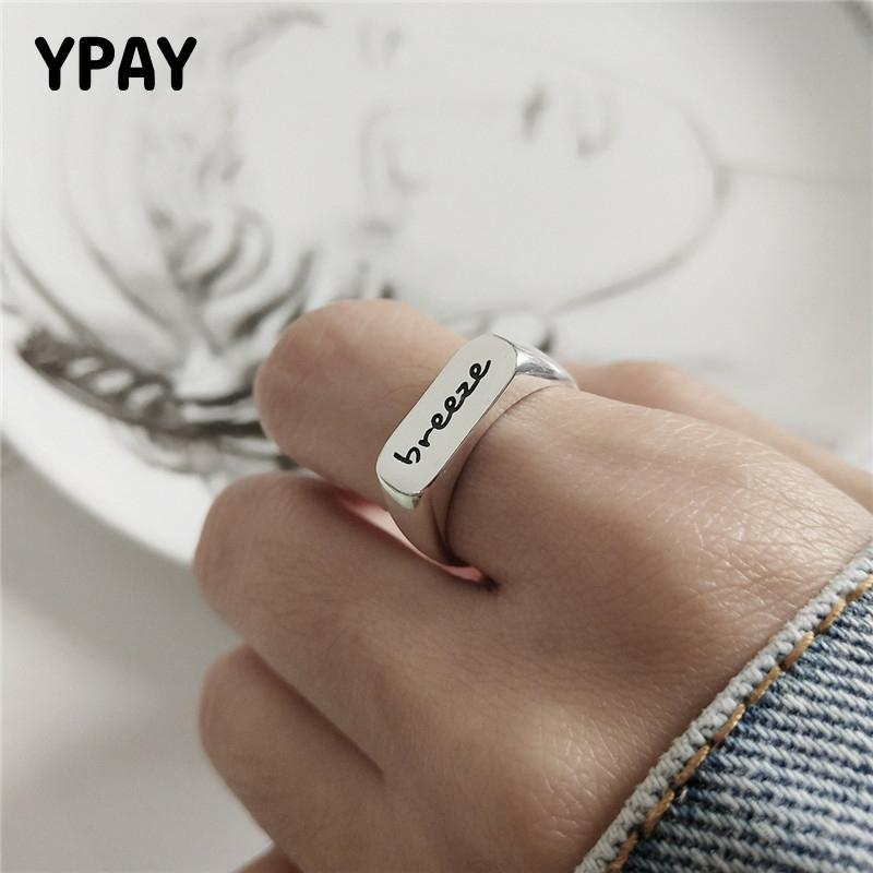 YPAY Genuine 925 Sterling Silver Letter Breeze Open Rings Korea Square Glossy Trendy Adjustable Ring Women Fine Jewelry YMR873