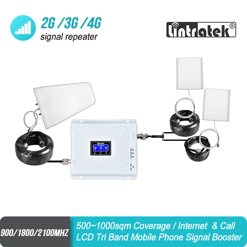 Signal Booster With Two Antennas GSM 900 UMTS 2100 4G 1800 Mobile Signal Booster Two Indoor Antennas Repeater Amplifier Set #43