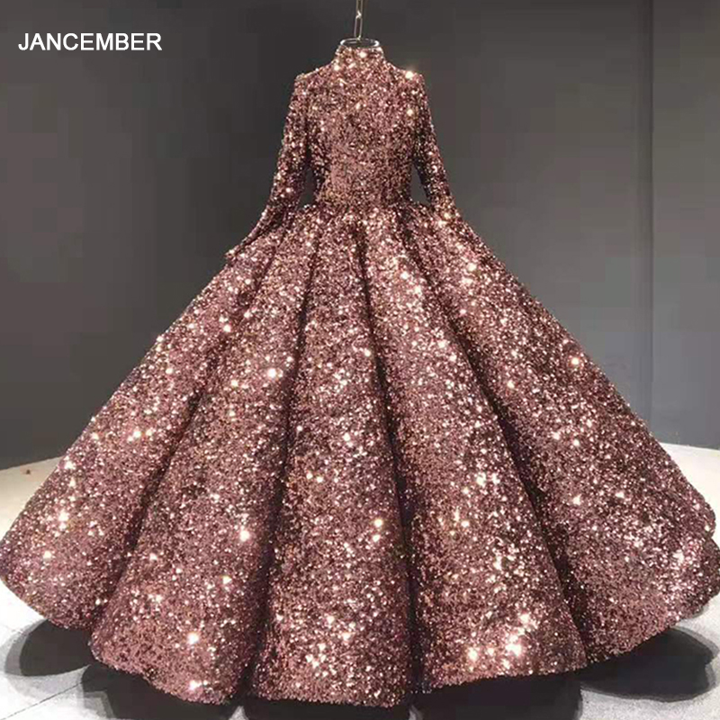 J66991 Jancember Quinceanera Dresses Con Manga High Neck Ball Gown Sequin Red Bean Paste Sweets Vestido De 15 Anos De Debutante