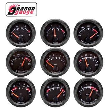 DRAGON 」 52MM temperatura del agua/temperatura del aceite/voltímetro/Prensa de aceite/vacío/tacómetro RPM/medidor de presión/relación aire-combustible/indicador de EGT para coche de 12V