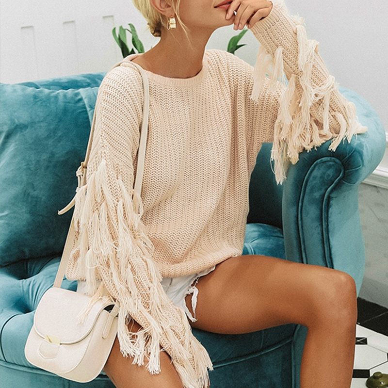 Misswim Casual Tassel Knitted Sweater Women Autumn Winter Oversized Pullover Sweater Female Warm O Neck Jumper Sexy Outerwear