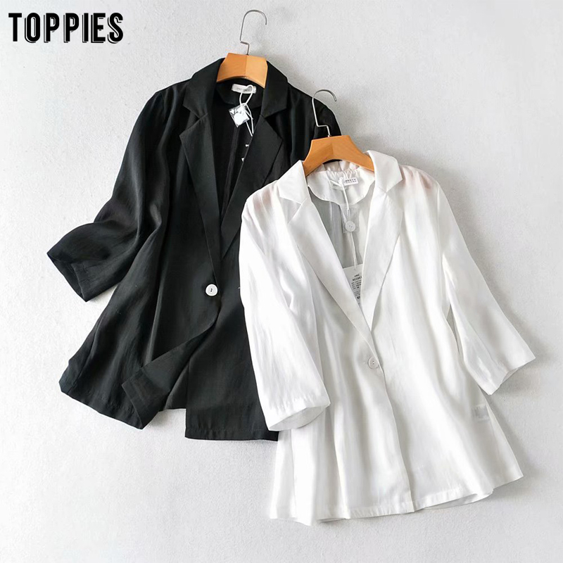 Toppies Summer Thin Blazer Jacket Black White Shirt Jackets Women Single Button Coat Ladies Leisure Blazer