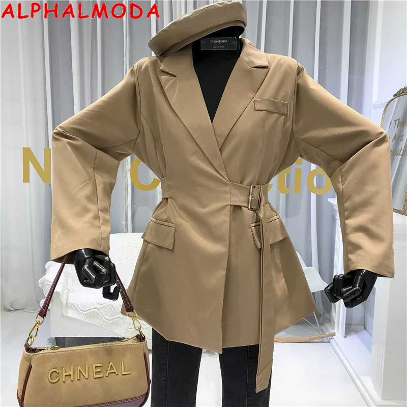 ALPHALMODA 2020 Spring Women Solid Blazer Jacket Sashes Tie Waist Ladies Faux Pocket Long-sleeved Casual Blazer Outfit