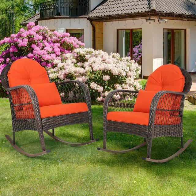 2PCS Outdoor  Wicker Rocking Chair 2