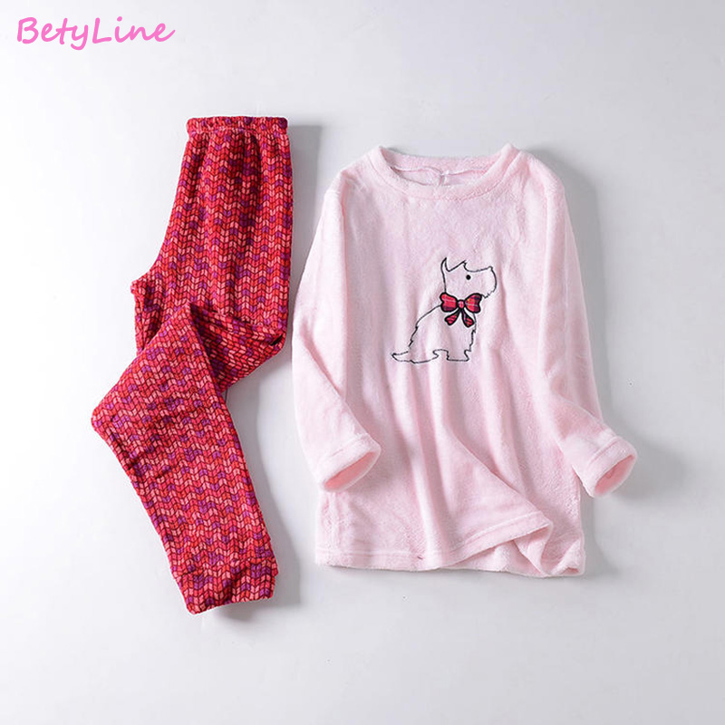Betyline 2019 Coral Velvet Super Soft Embroidered Dog Pijamas Winter Pajamas For Women Cartoon Fleece Pyjamas Warm Sleepwear