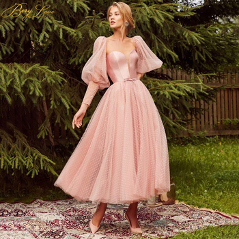 Lace Up Satin Pink Prom Dress Dot Tulle A Line Elegant Party Dress Tunic Corset Puffy Sleeves Long Gown Evening Dress Plus Size цена 2017