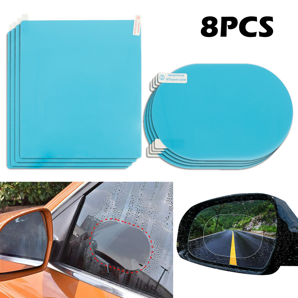 8pcs/set Car Anti Fog Rearview Mirror Protective Films Sticker Decals for DS