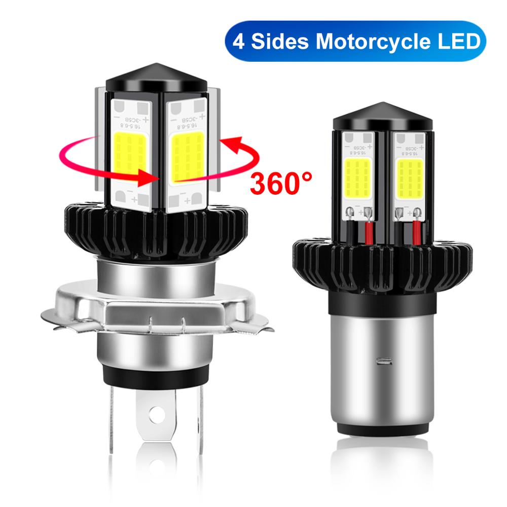 LED BA20D H6 H4 Motorcycle Headlight Bulbs Hi Lo Beam Moto LED Headlight Lamp 6000K White 12V 1200LM