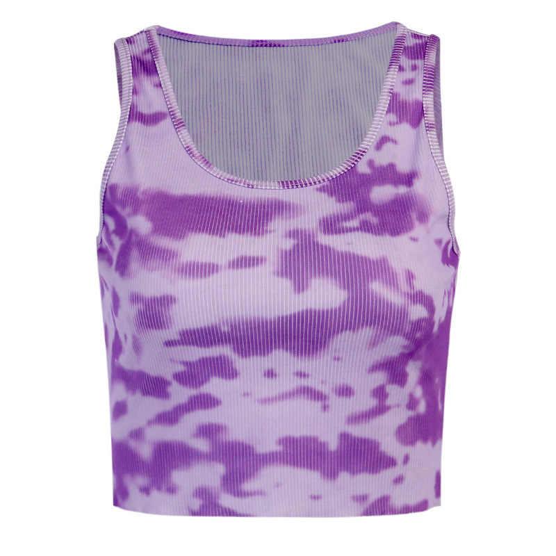 Aotifu 2020 Womens Blouse Letter Tie Dye Print Round Neck Short Sleeve Hem Summer Crop T-Shirt Tops