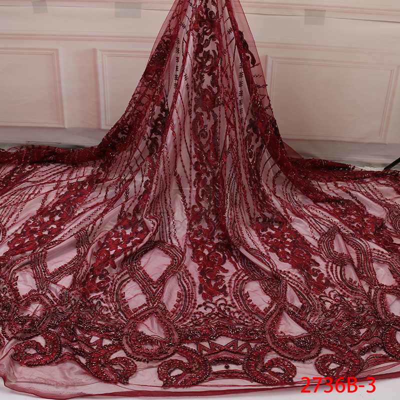 Lilac haftowane koronki ślubne dla nowożeńców sukienka 3D kwiat ręcznie zroszony afryki tiulowa siateczkowa koronka tkanina francuska koronka tkaniny QF2736B 3 w Koronka od Dom i ogród na AliExpress - 11.11_Double 11Singles' Day 1