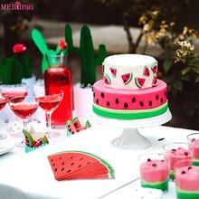 20pcs Disposable Paper Napkins Watermelon Tableware Summer Party Favors Hawaiian Luau Theme Decorations