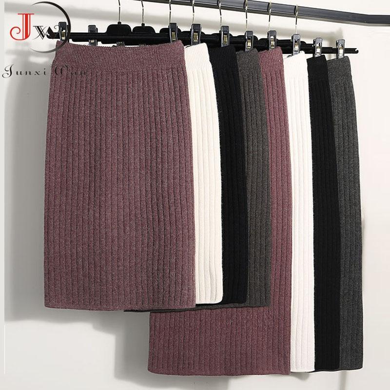2021 Autumn Winter Women Long Skirt Elastic Waist Warm Knitted Straight Slim Elegant Black Pencil Skirts faldas jupe femme