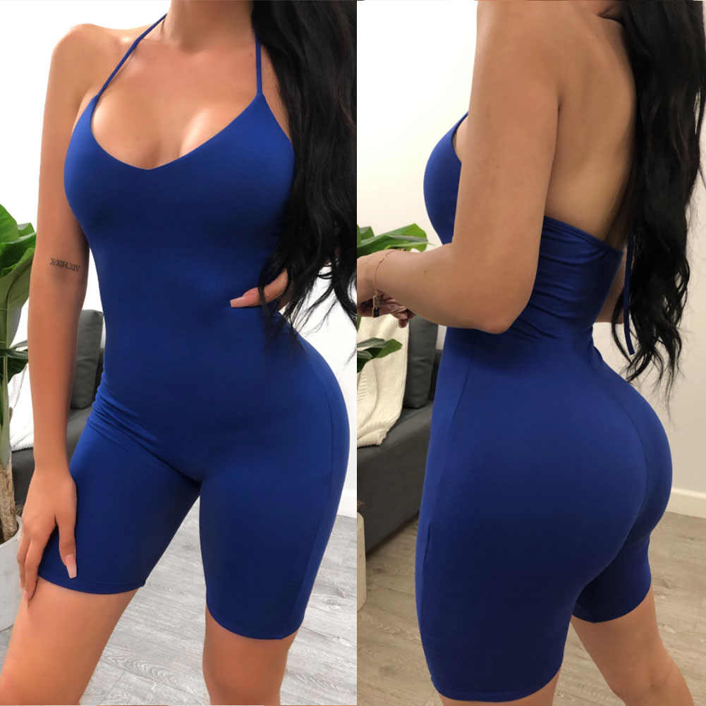 Sexy Women Sports Playsuits Gym Yoga Set Tracksuit Female Sleeveless Halter Bodycon Romper Solid Women Backless Skinny Jumpsuit
