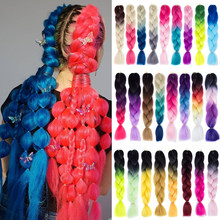 Synthetic hair Braids Ombre Braiding Hair Extension Box Braids Hair Pink Purple Yellow Golden Colors Crochet braids(China)