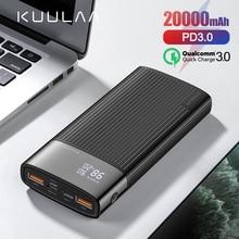 KUULAA 20000mAh Power Bank For iPhone Samsung Huawei Type C
