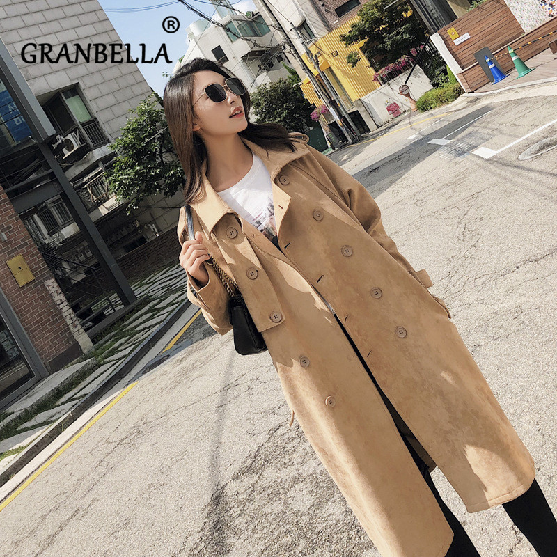 Fall 2019 New Korean Long   Trench   Coat Fashion New Solid Color Loose Belt Casual Full Sleeve Windbreaker
