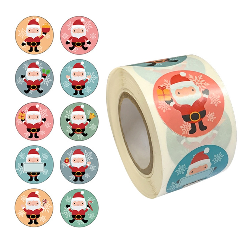 500pcs/roll Merry Christmas Cartoon Stickers 1.5 Inch Seal Label Wedding Gift Package Stationery Sti