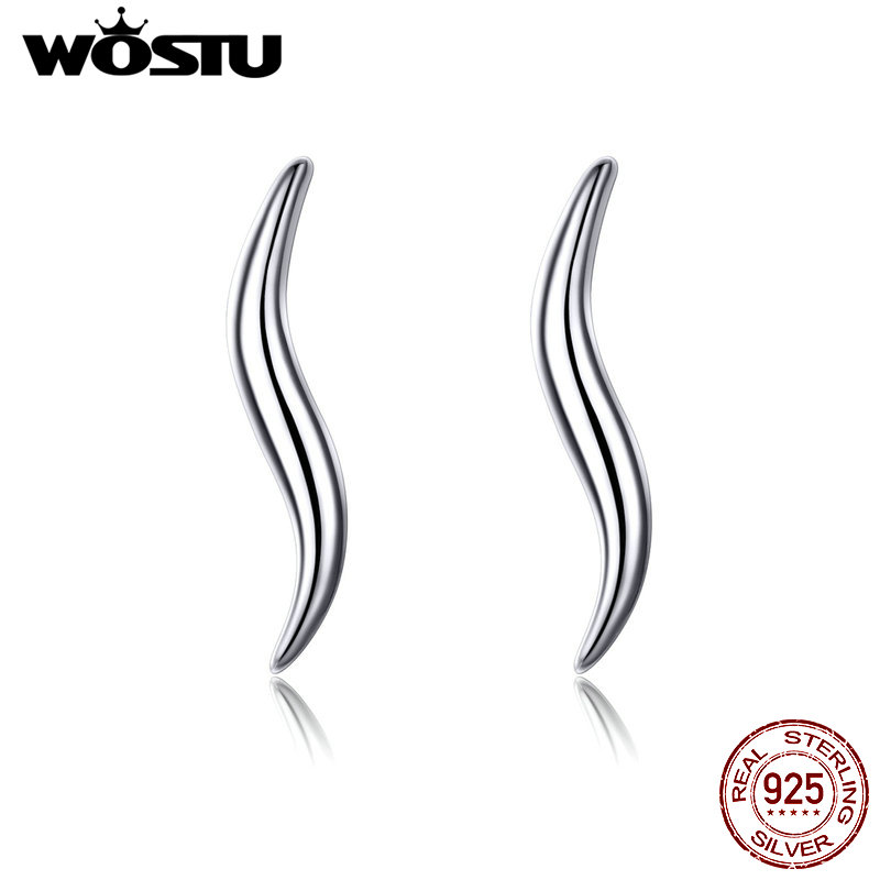 WOSTU S Line Shape Curves Stud Earrings 925 Sterling Silver Delicate Tiny Earrings For Women Minimalist Style Jewelry CQE600