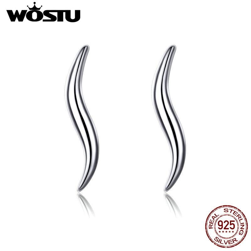 WOSTU S Line Shape Curves Stud Earrings 925 Sterling Silver Delicate Tiny Earrings For Women Minimalist Style Jewelry CQE600