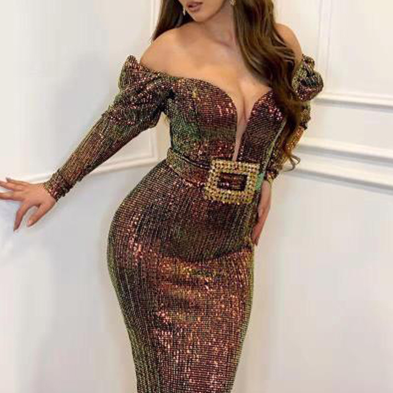 2019 European And American New Dress, EBay Amazon Popular Sexy Deep V One Shoulder Slim Fishtail Skirt