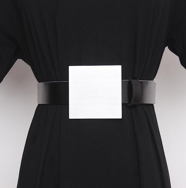 Women's Runway Fashion Metal Buckle Genuine Leather Cummerbunds Female Dress Corsets Waistband Belts Decoration Wide Belt R2331