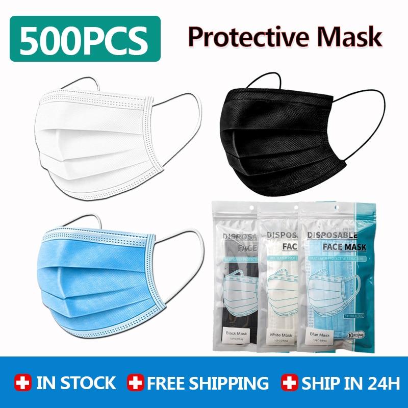 500PCs Wholesale 3-Laye Disposable Protection Face Masks Black / White / Blue  Face Mask