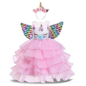 Image 3 - Girls Unicorn Flowers Cake Tutu Dresses With Beadbad for Kids Princess Fancy Birthday Theme Party Costumes 1 10 Years Pink Blue