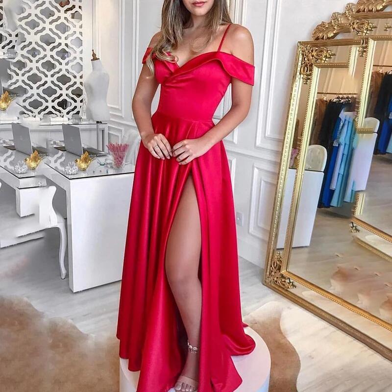 DYMADE Off Shoulder Evening Dress Sleeveless Elegant Female Floor-length Prom Party Gowns Dress Women Long Red Dresses 2020 D30