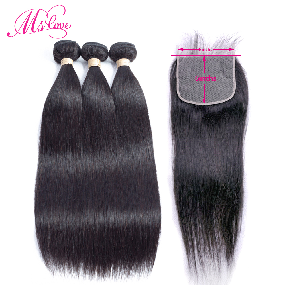 Straight Human Hair Bundles With Frontal 6x6 Lace Closure With Bundles Brazilian Hair Weave 3 Bundles With Lace Frontal