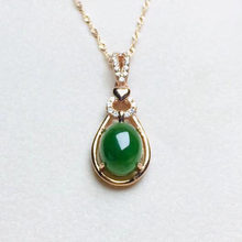 925 Sterling Silver Jasper HeTian Green Jade Beads Inlay Design Lucky Pendant + Chain Necklace Fine Jewelry Gift(China)
