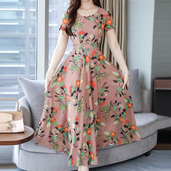 Large Size Women Dress Short Sleeve Print Bohemian Bohol Beach Chiffon Long Dress 5XL Plus Size Vestidos #BL5 slip dress and bell sleeve chiffon beach smock dress twinset