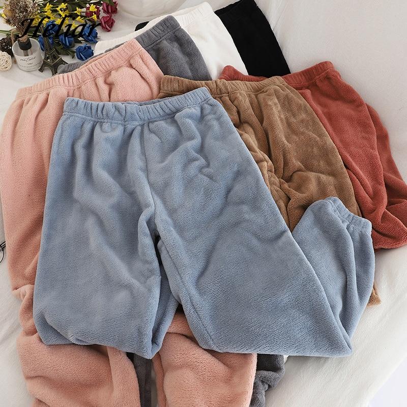 Heliar Frauen Samt Pyjama Hosen Elastische Taille Hause Casual Warm Woolen Hosen Kaschmir Hosen Für Frauen 2020 Winter