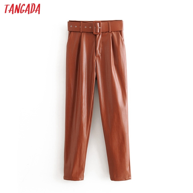 Tangada women black faux leather suit pants high waist pants sashes pockets 2019 office ladies pu leather trousers 6A05 5