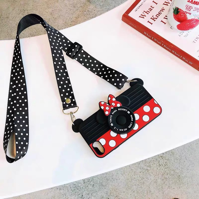 Cute Cartoon Camera Diagonal Strap Phone Case for iPhone 11 Pro XS Max X XR 6 7 8 Plus Caes Neck Lanyard iPhone11 Back Cover image