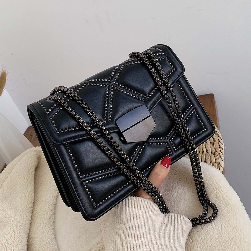 Rivet Chain Small Crossbody Bags for Women 2021 Fashion Trend Designer Pu Leather Shoulder Bag Female Luxury Handbags and Purse
