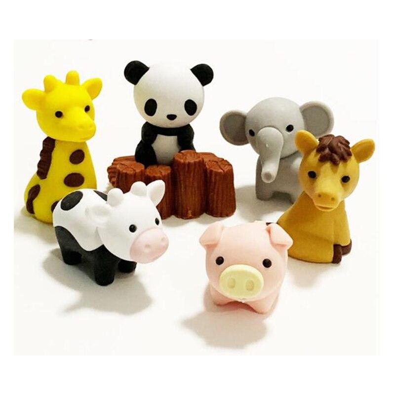 600PCS/Lot Cute Kawaii Animal Zoo Eraser Lovable Rubber Eraser Delicate School Stationery Golobal Door To Door Shipping Service