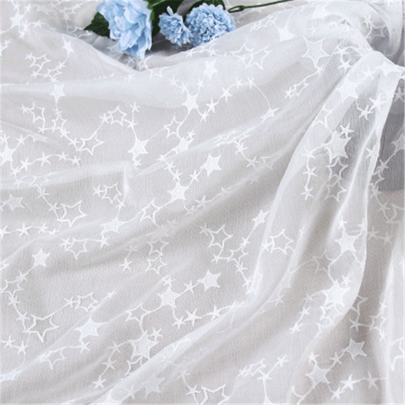 Star Chiffon Embroidered Three-dimensional Fabric Wedding Dress Shirt Fabric With Lace Curtains Pillow Case Accessories