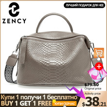 Borsa a tracolla da donna con motivo a coccodrillo Zency realizzata in vera pelle borsa a tracolla Casual quotidiana per donna nero grigio