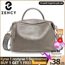Zency timsah desen kadın Tote çanta hakiki deri günlük rahat Crossbody omuz çantası bayan için siyah gri