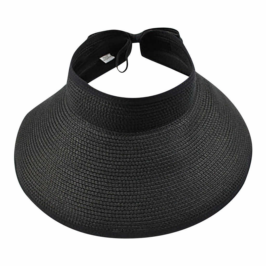 Women's Summer Wide Brim Visor Hat Foldable Straw Sun Visor W/cute Bowtie Hat Sun Visors Hats For Women Ladies Leisure Cap
