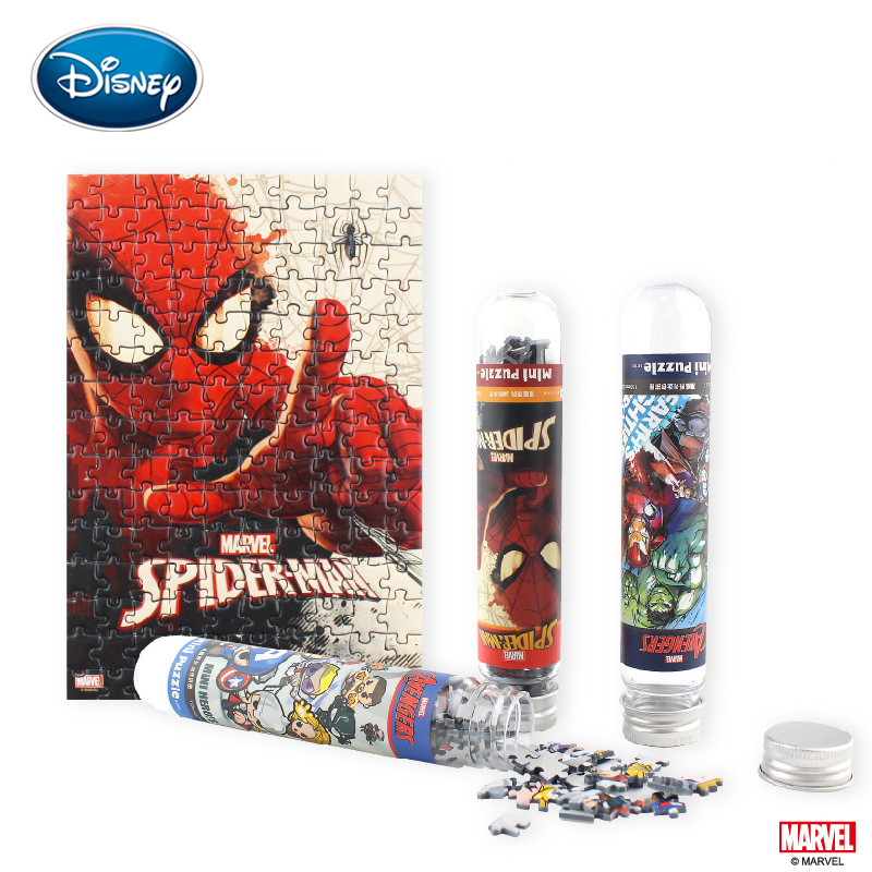 Disney Mini Test Tube Jigsaw 150Pcs Disney Princess/Avengers/Spiderman Cartoon Cute Pocket Creative Puzzles Birthday Kid Gift