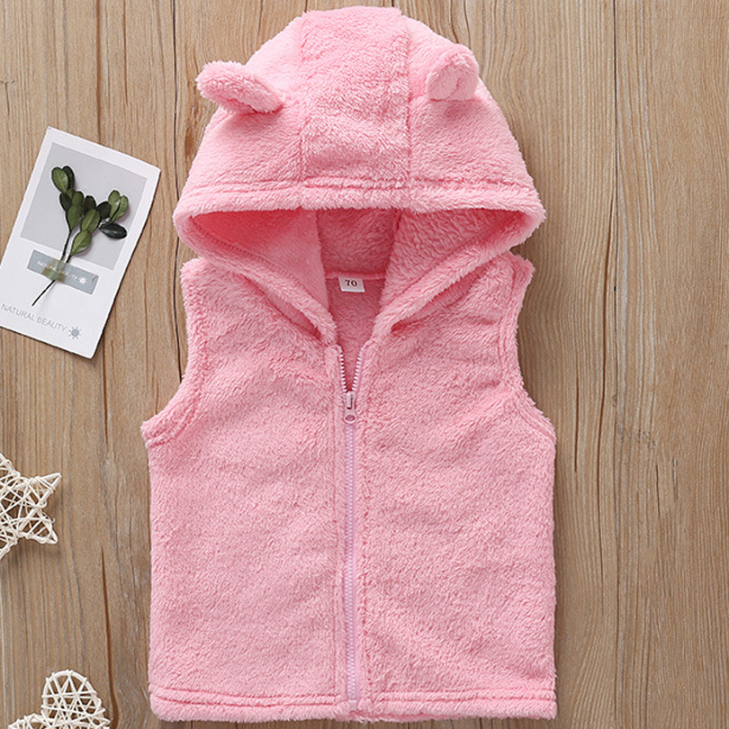 2019 Spring Autumn New Baby Sleeveless Hooded Wool Vest Jacket for Girls Solid Pink Coat Top Kids Warm Wild Vest Outwear Clothes