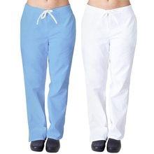 Uniforme de enfermería para hombre y mujer, pantalones de pierna acampanada con bolsillo, Color sólido, ropa de trabajo para médicos, azul y blanco